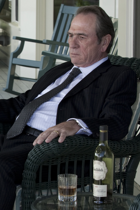 Tommy Lee Jones with Glenfiddich whiskey on  The Company Men