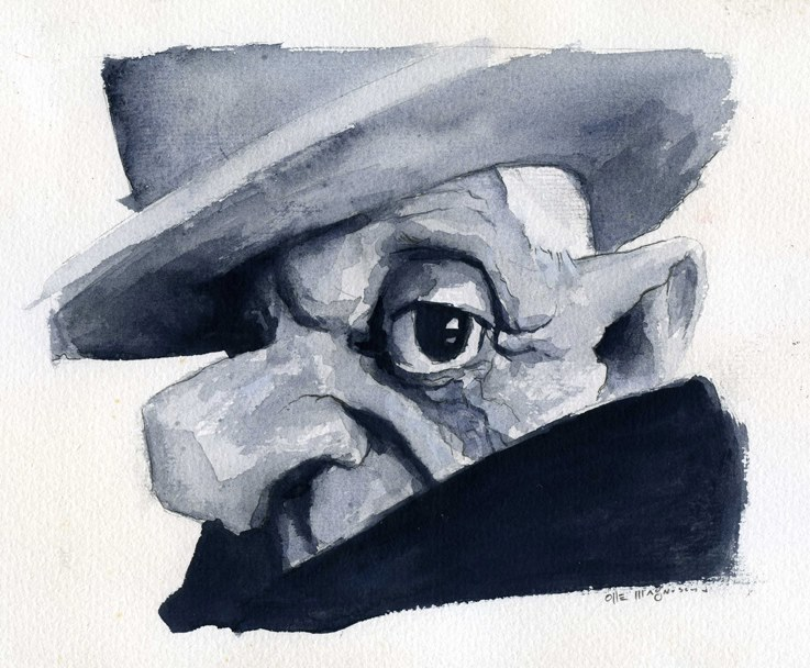 Pablo Picasso.  Caricature by Olle Magnusson (All Rights Reserved)
