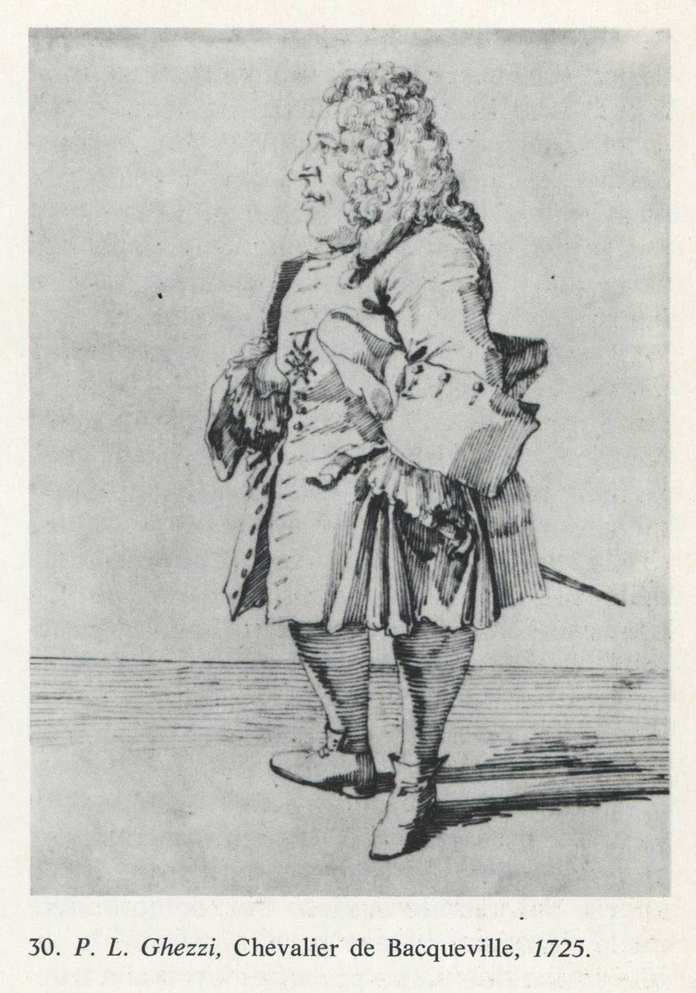 Caricature of Chevalier de Baqueville