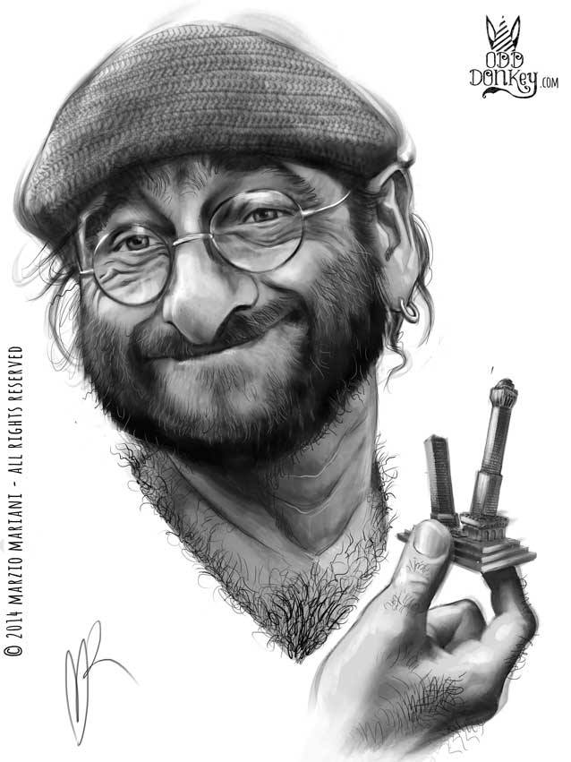 Lucio Dalla caricature by Marzio Mariani (All Rights Reserved)
