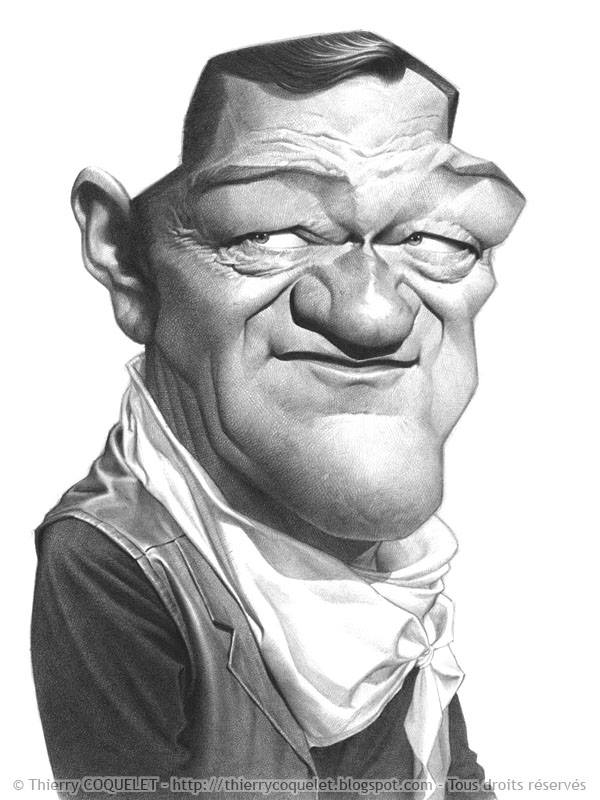 John Wayne  caricature by Thierry Coquelet (All Rights Reserved)