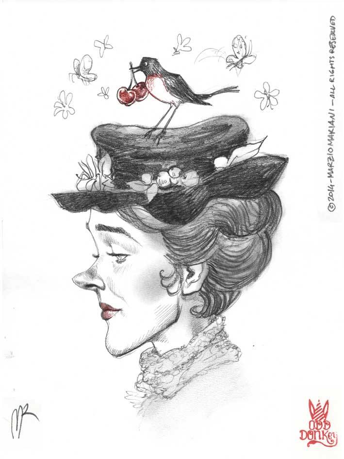 Julie Andrews caricature by Marzio Mariani (All Rights Reserved)
