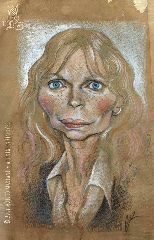 Mia Farrow Caricature by Marzio Mariani (All Rights Reserved)