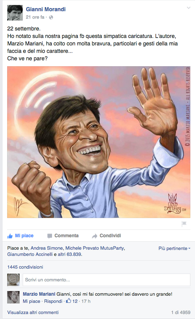 trad: september 22 - I spotted on  my fb page this funny caricature. The author, Marzio Mariani, nailed my expression and my character with fine cleverness...what do you think?