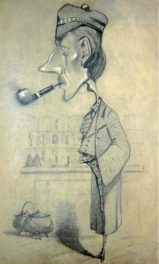 Caricature of a Scotsman with  a Pipe - Claude Monet