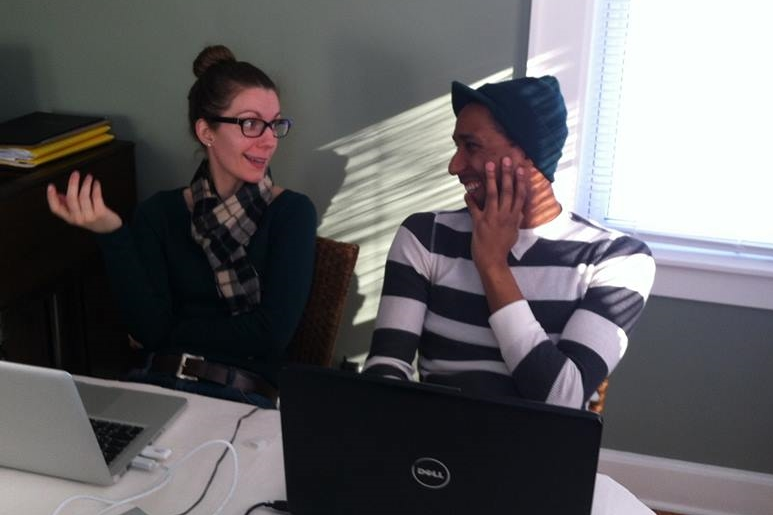"""candid"" photo of Rebecca Barko & Cornelius Bethea having a production meeting"