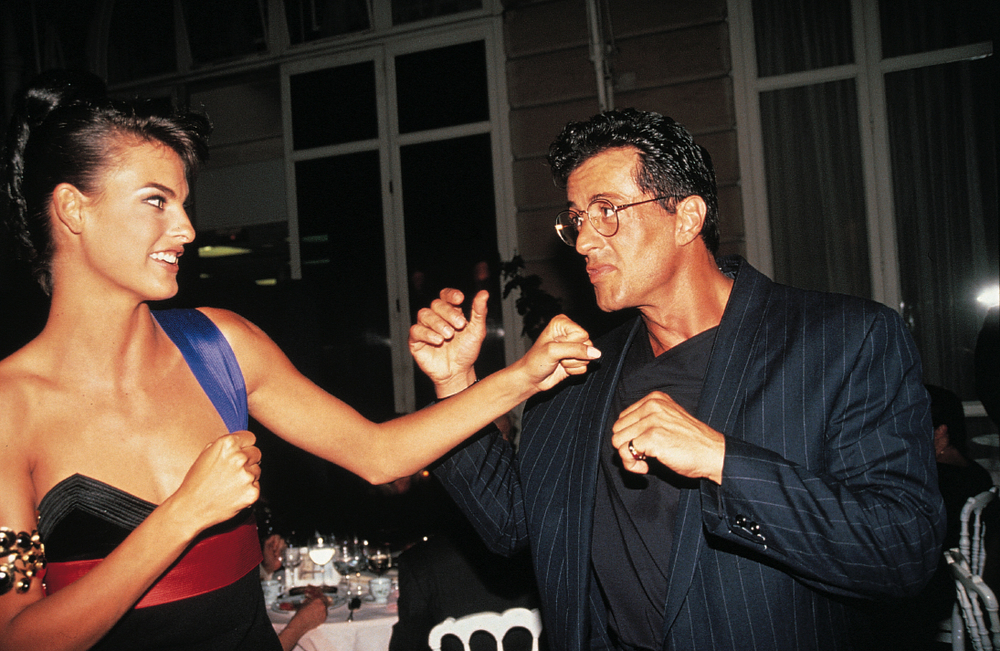 Linda Evangelista and Sylvester Stallone