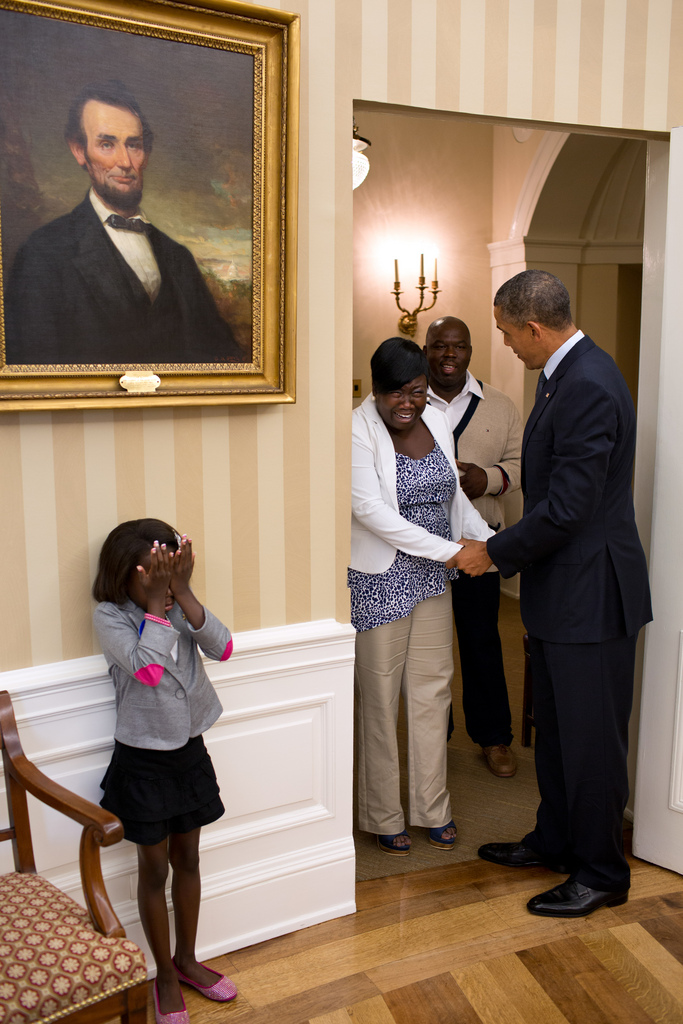 *heart melts*    blackvoices :     How would you react if you got to meet President Obama?    suitep :     Eight-year old Make-A-Wish child Janiya Penny reacts after meeting President Barack Obama as he welcomes her family to the Oval Office, Aug. 8, 2012. (Official White House Photo by Pete Souza)