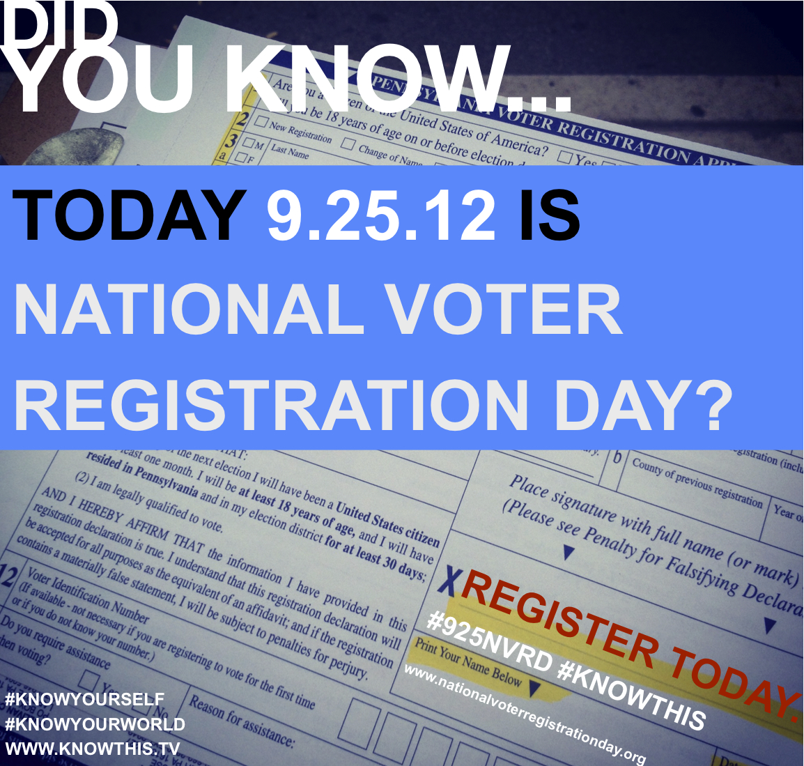 National Voter Registration Day is TODAY! Holler. Register. And then holler about how you registered.  www.nationalvoterregistrationday.org