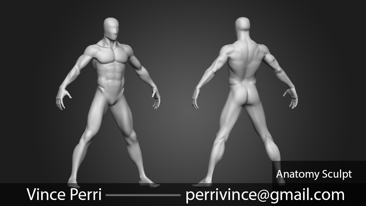 Anatomy Study - Sculpt It's not perfect but will be used for a character model that's fully clothed. There will be an update at some point to push the realism.