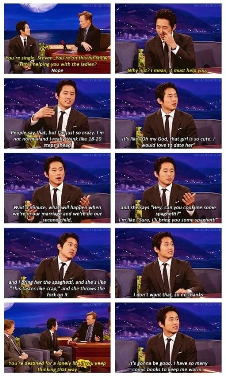 Steven Yeun on dating.    Thanks Dan for the share.
