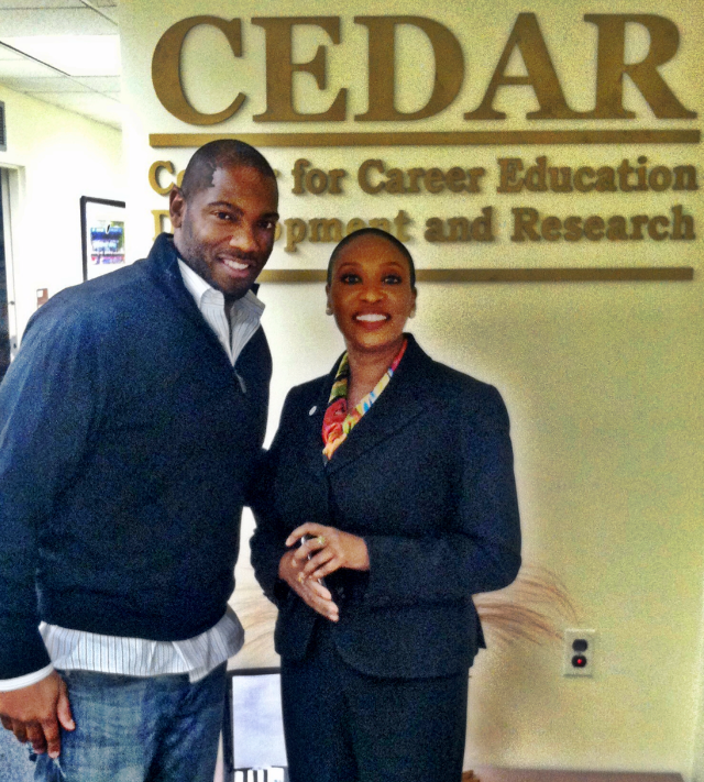 Daron Pressley with Howard University Center for Career, Education, Development and Research Director Dr. Joan Browne.