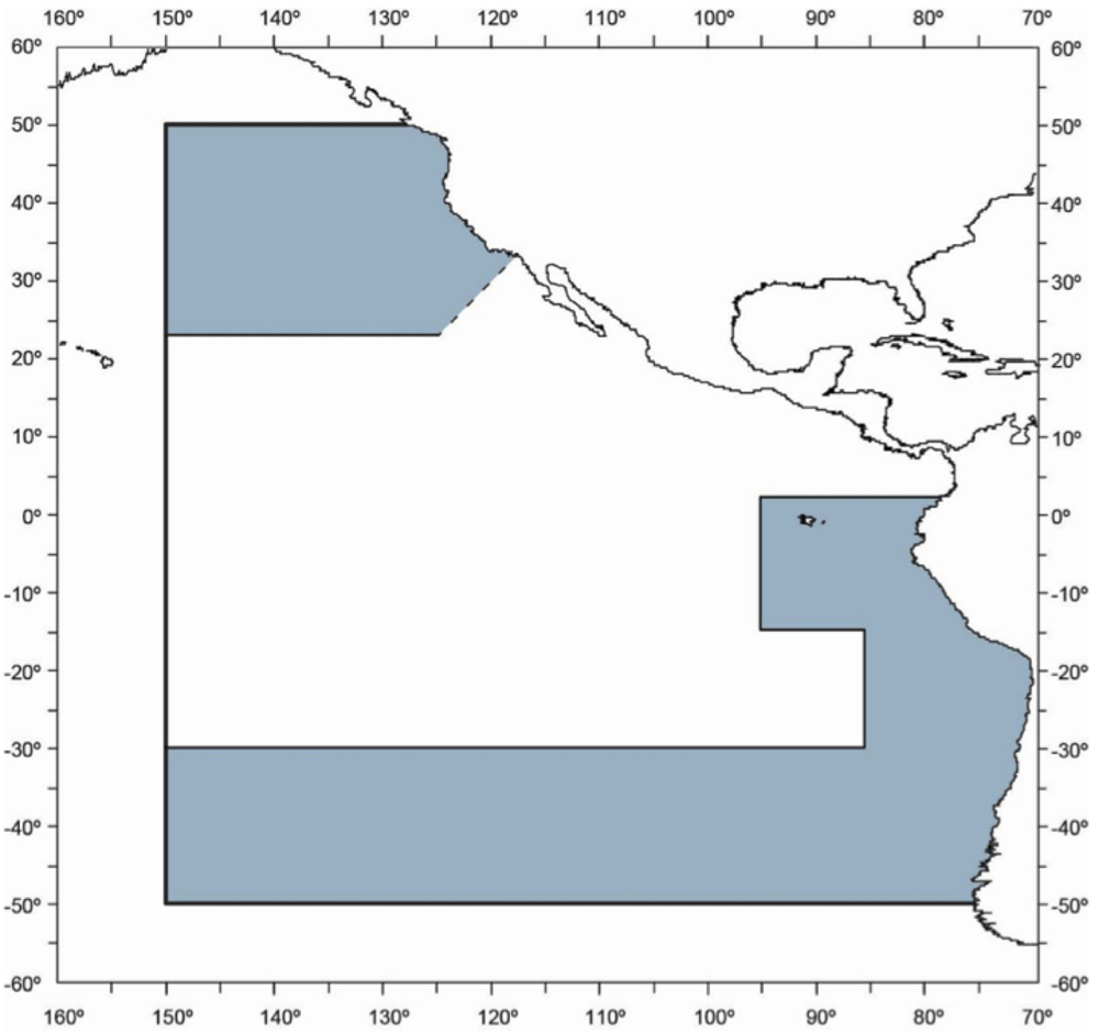Area Requiring Seabird Bycatch Mitigation Measures. When fishing in the shaded area, IATTC requires vessels to use two different seabird bycatch mitigation measures.