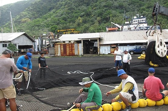 Experimental release panel in a purse seine net. Tested during ISSF bycatch research cruise in the western Pacific, June 2012