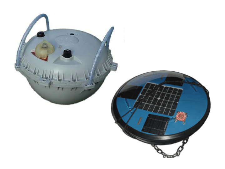 New generation, low-profile GPS (upper left) and solar-power sonar (lower right) buoys (Photo: SPC)