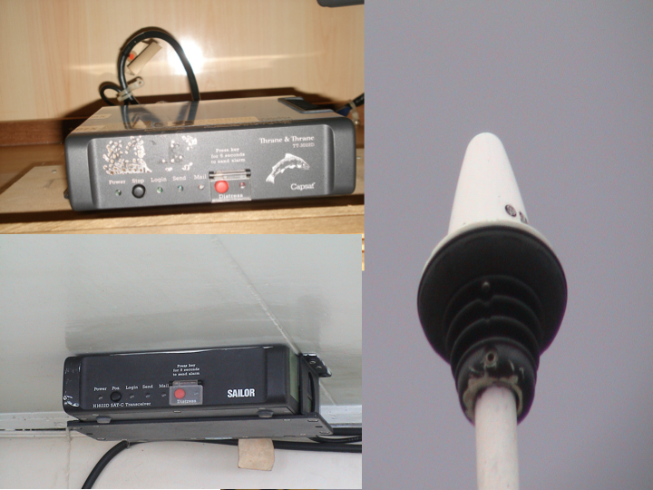 The VMS has two components onboard: the transceiver box (two examples on right) and the antenna (left). (Photo: SPC)