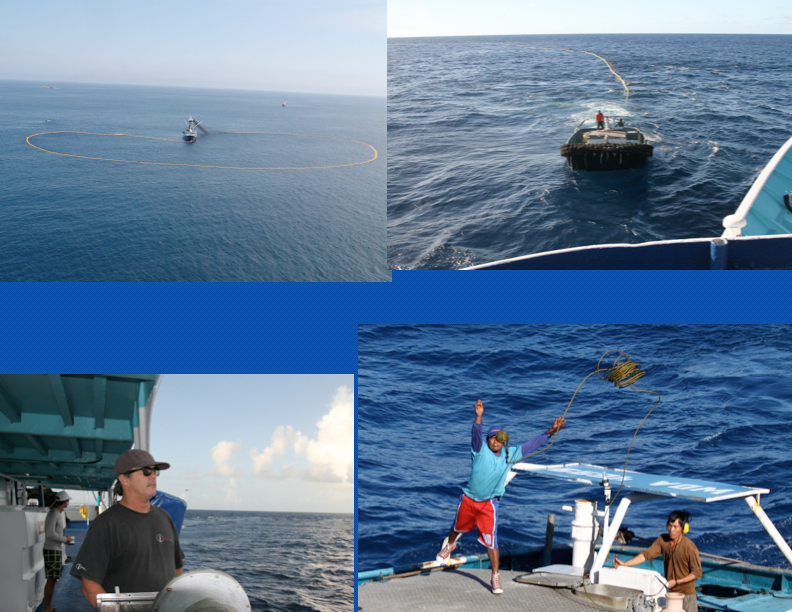 Various stages of net setting: surrounding the school, skiff meeting the purse seine vessel with end of net, navigator driving purse seine vessel during set from port station, and exchanging cables and tow ropes between skiff and purse seine vessel (Photo: Jeff Muir)