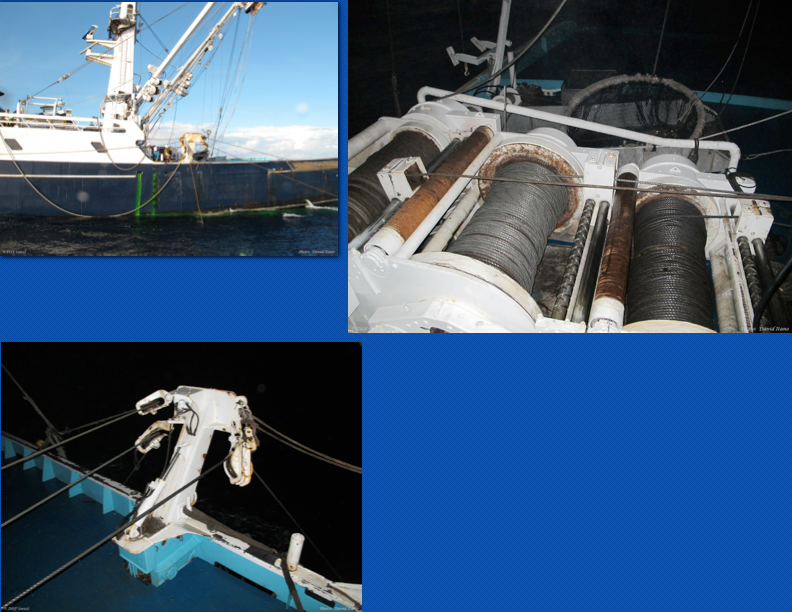 Show here (clockwise from top left): the pursing process at start, the pursing winch retrieving cable, and the purse cables coming through blocks on purse boom. (Photo: David Itano)