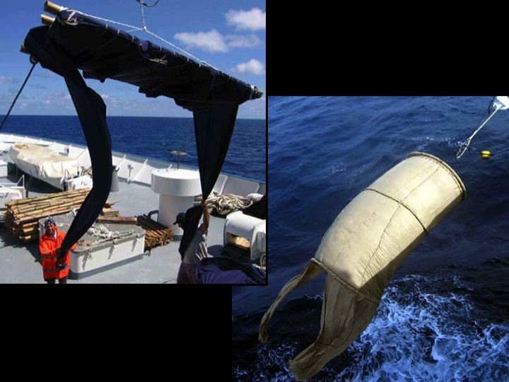 Alternative, non-entangling FAD designs substituting net with fabric (left) or biodegradable sheets (right) (Photo: IEO)
