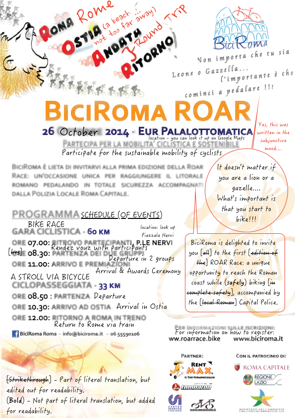 BiciRoma Roar - October 26, 2014 - Rough English Translation