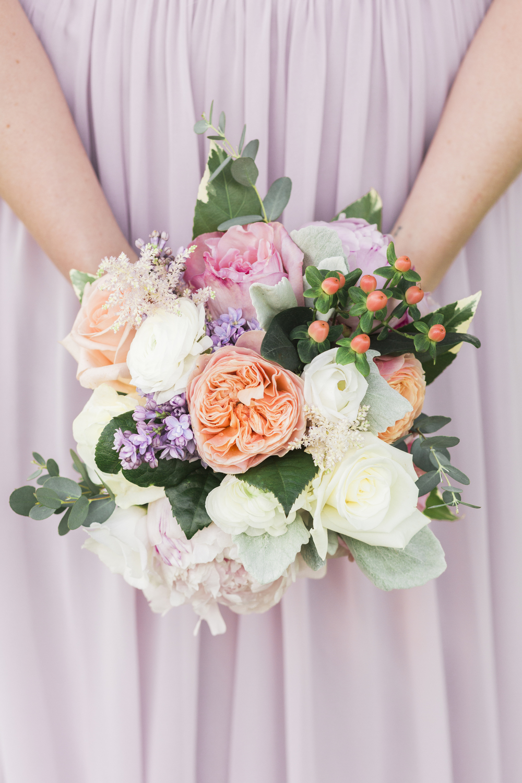 Bridesmaid Bouquet Peach Pink Purple