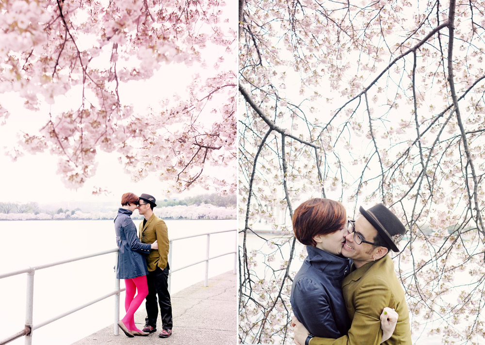 Katie and Steve's engagement session was photographed in Washington, DC amid cherry blossoms by Hudson Nichols photography.