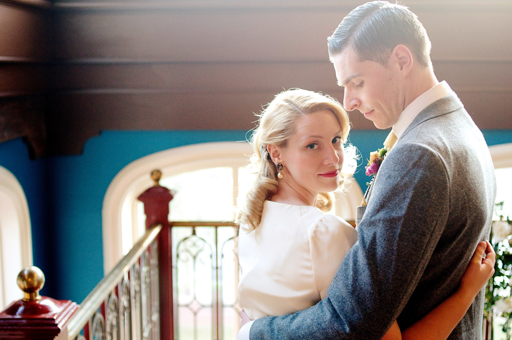 Laura and Tom's vintage inspired Baltimore wedding with his British charm and her classic American style. Her dress by Bhldn. Photos by Hudson-Nichols Photography.