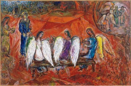 Marc Chagall,   Abraham and Three Angels,     1966, oil on canvas