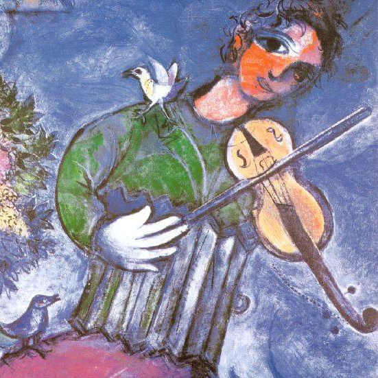 Marc Chagall,  The Blue Violinist , 1947; detail