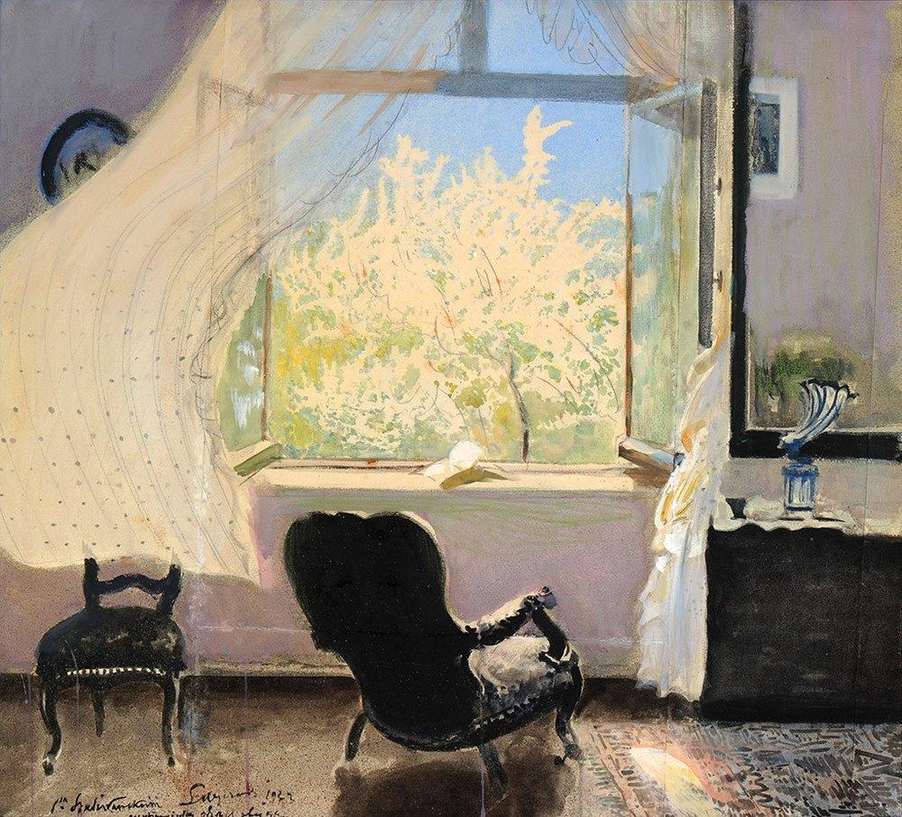 Leon Wyczółkowski,  Spring in Gościeradz , oil on canvas, 1933