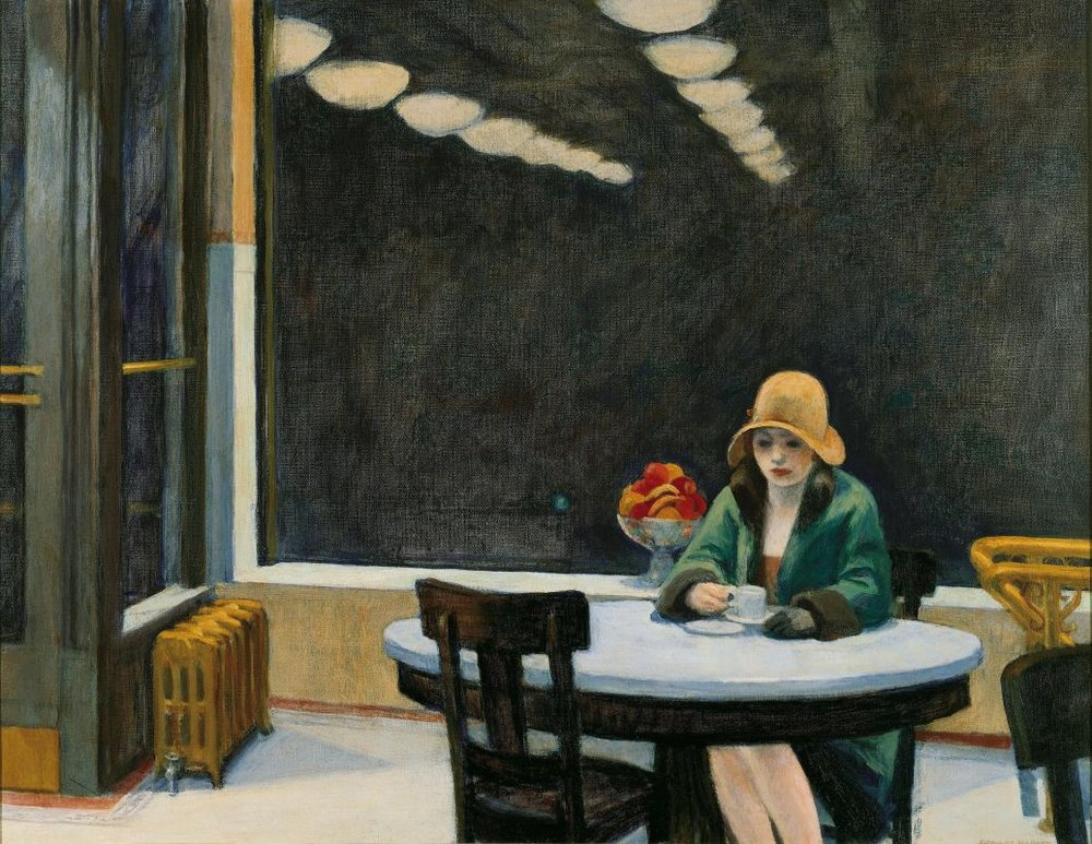 Edward Hopper,  Automat , oil on canvas, 1927 (detail) | Des Moines Art Center, Iowa | via edwardhopper.net