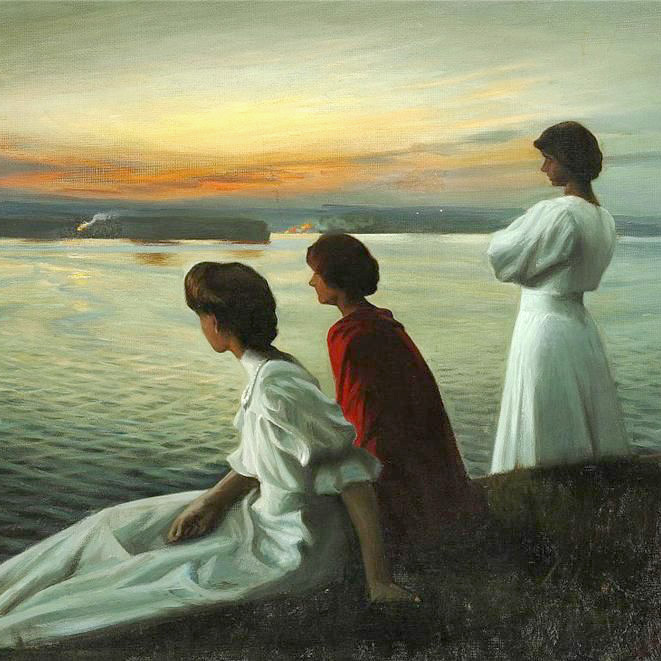 Harald Slott-Møller, Midsummer's Eve , 1904, oil on canvas (detail) | US-PD