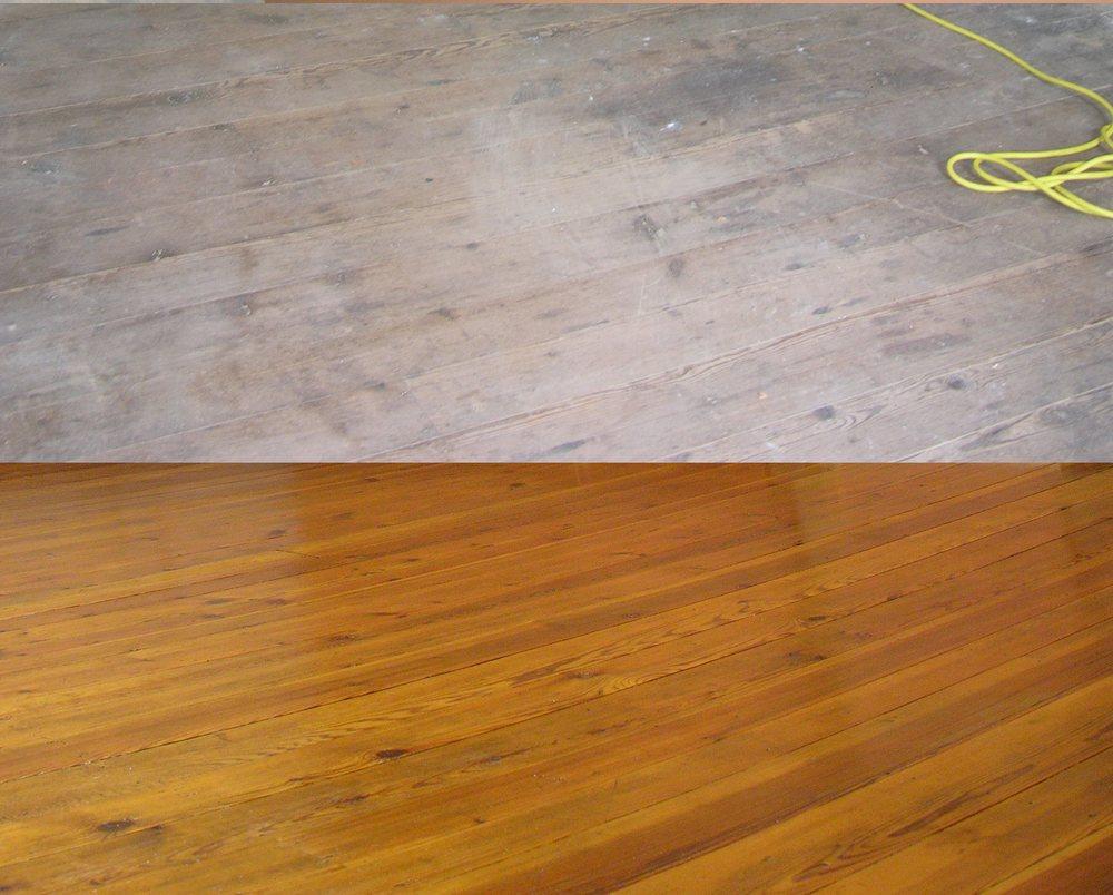 Wood floor Walnut Before After Floorjpg Wood Floors Shenandoah Restorations