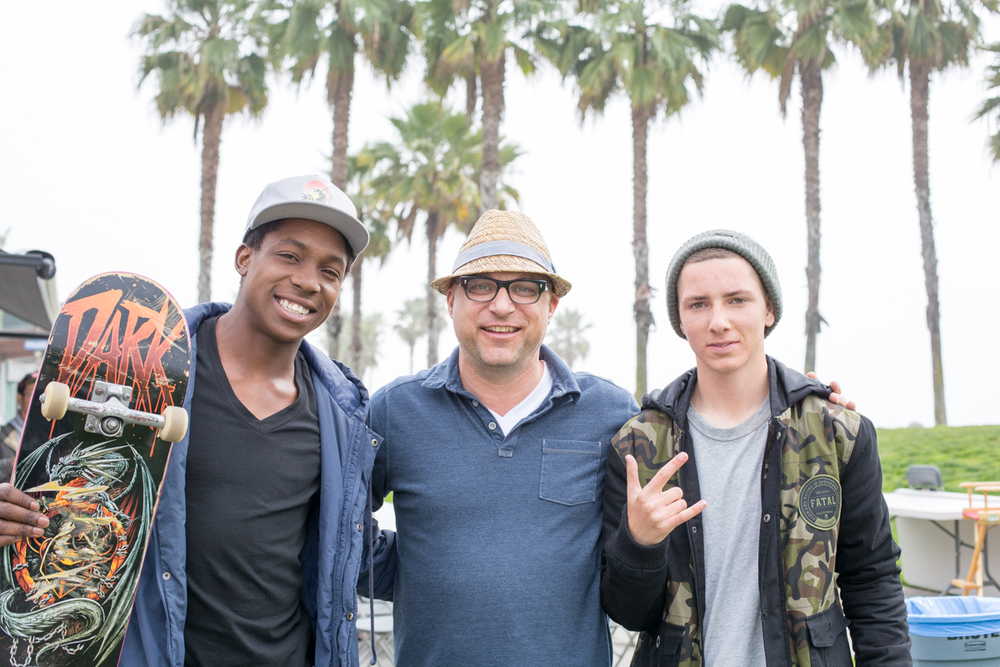 skaters LeAndre Sanders and Brandon Bell with The Fantastical's Chief Creative Officer Stephen Mietelski