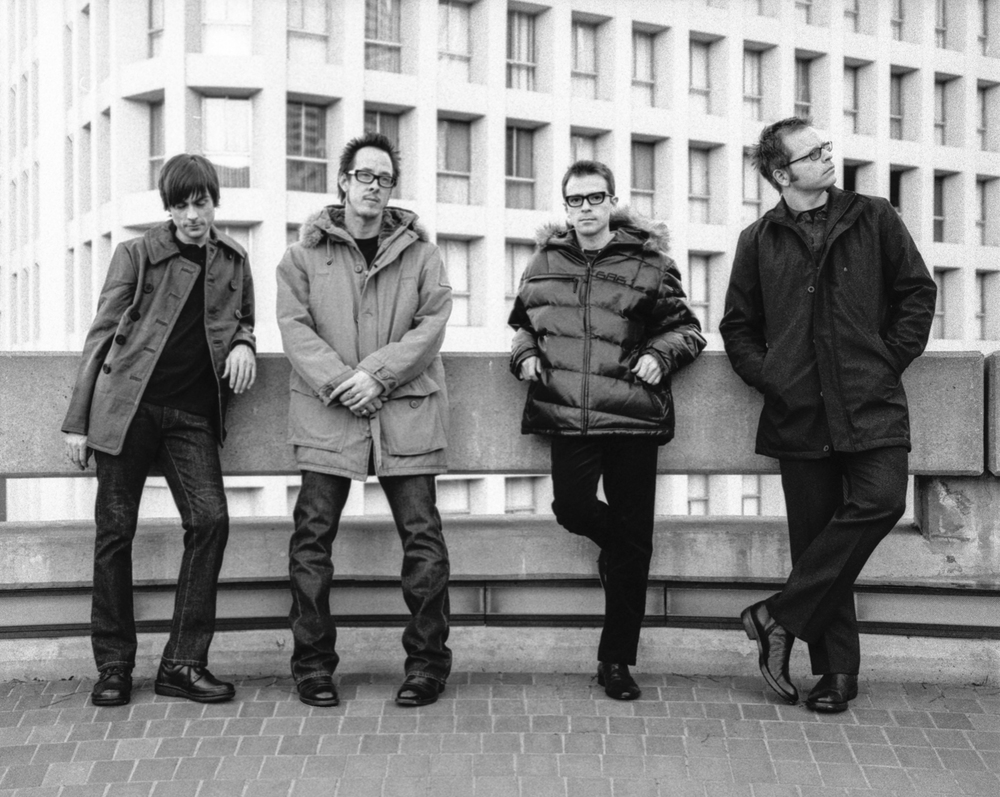 Weezer. Rivers Cuomo, Scott Shriner, Patrick Wilson, Brian Bell. Photo by Sean Murphy