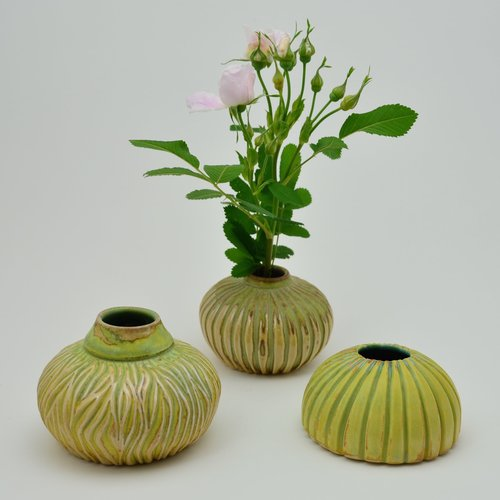 Carved Ikebana Vase Sold Willi Eggerman Ceramics