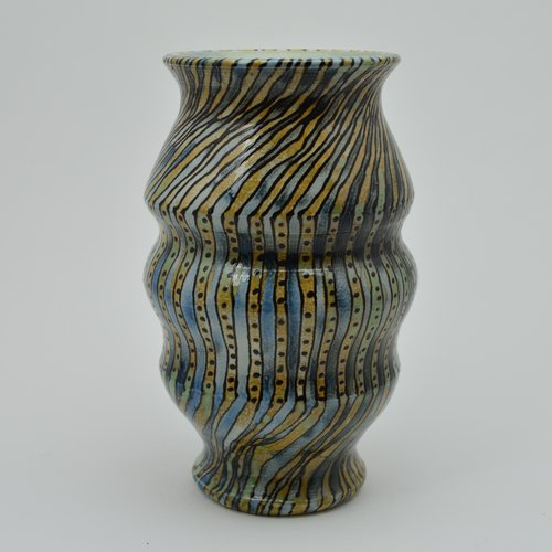 Blue Greenand Gold Striped Vase Willi Eggerman Ceramics