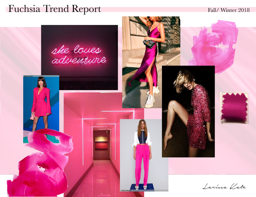 Fall/ Winter 2018 is all about Fuchsia.  High-end silk in Fuchsia creates a rich transitional look that can be worn from day to night.  Make an empowering feminine statement.