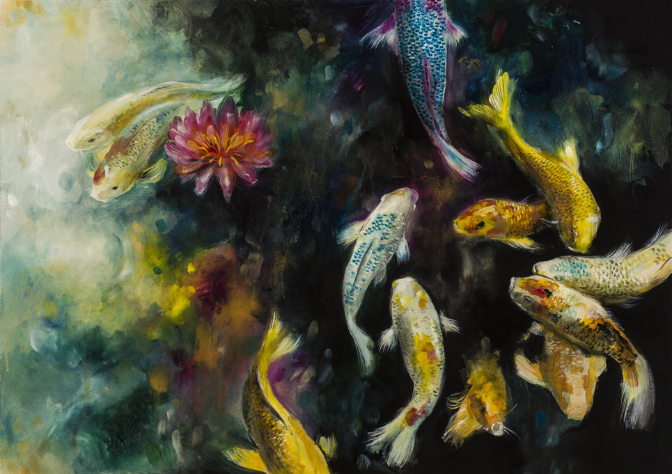Koi / Original Oil Painting 25x35""