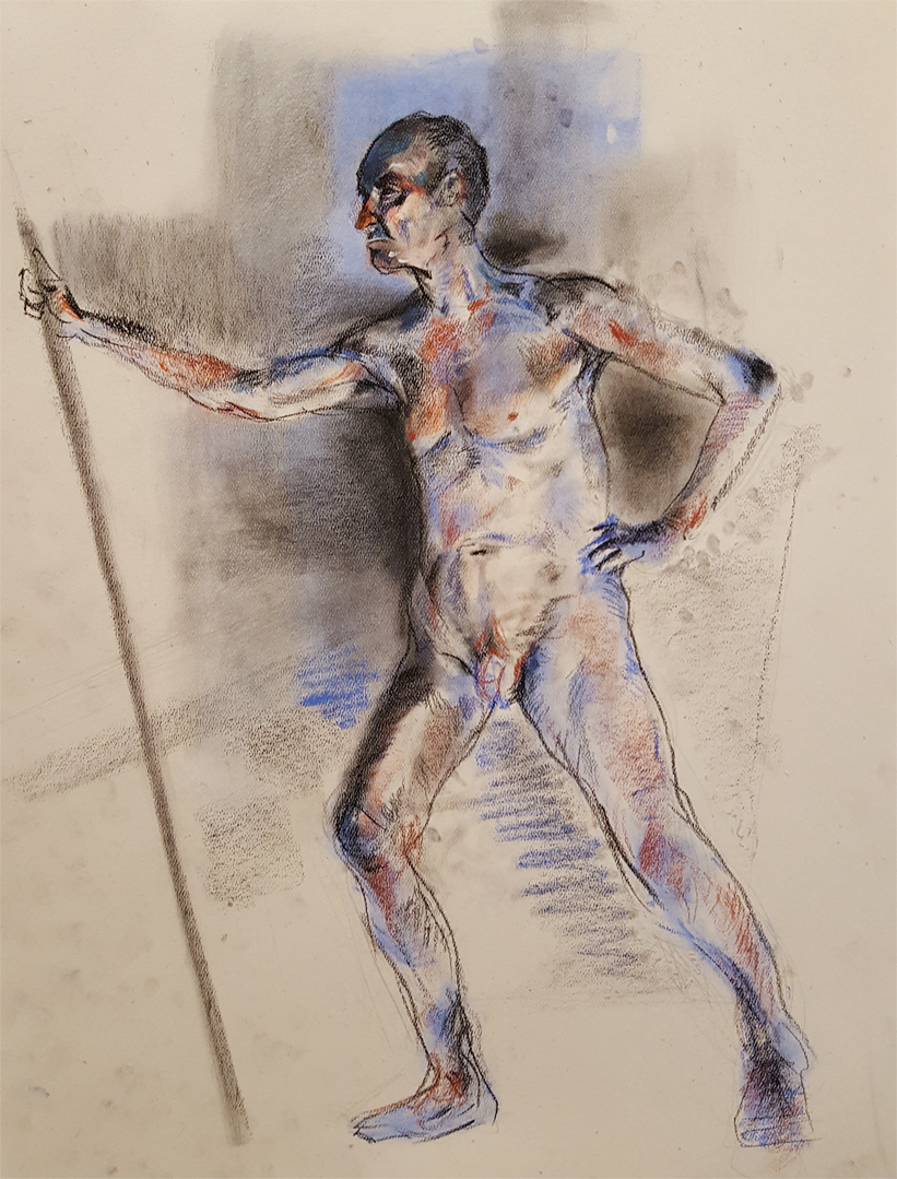 "3 Hour figure drawing, Nupastel, conte, and colored pencil on toned paper.  18"" x 24"""