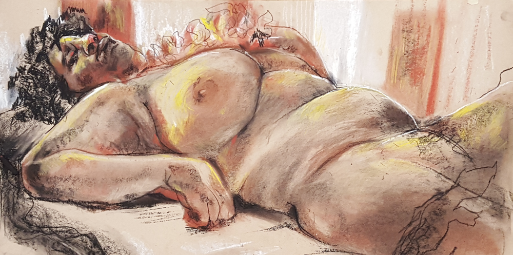 "3 hour figure drawing. Nupastel and conte and toned paper.  10"" x 24"""