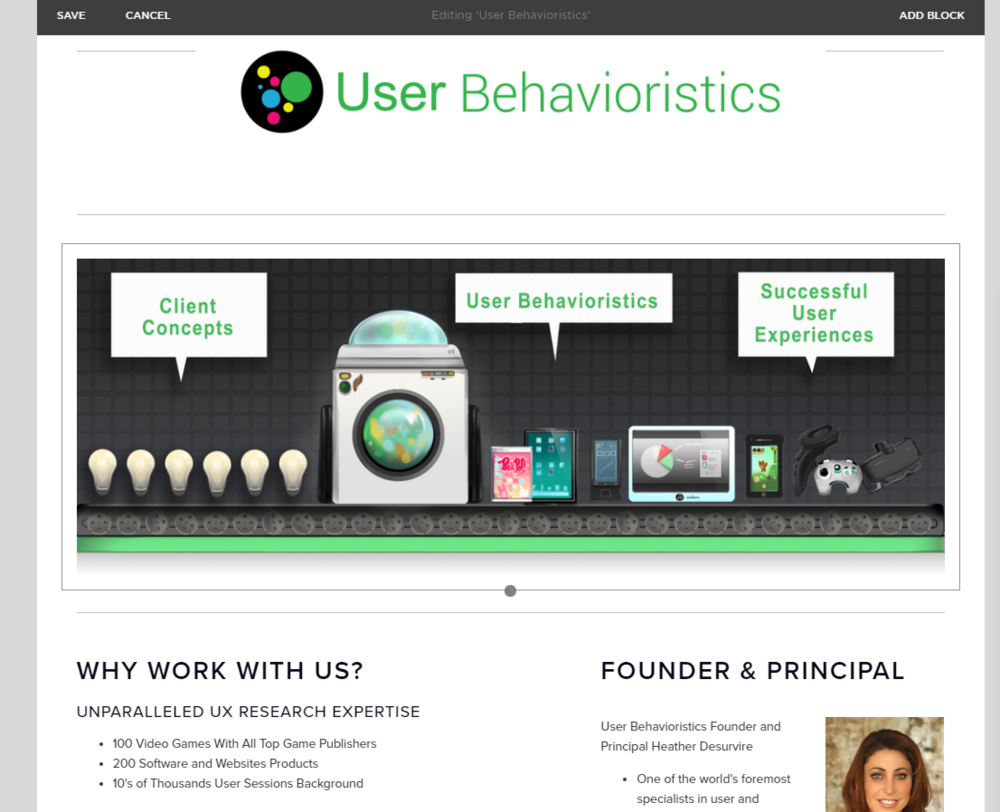 WIP Banner and web design for User Behavioristics