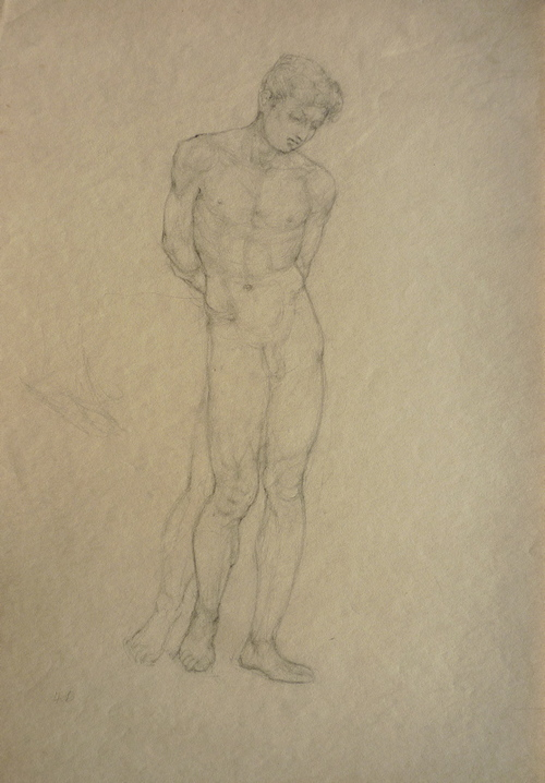 Standing Male Nude, Arms Behind, Looking Down