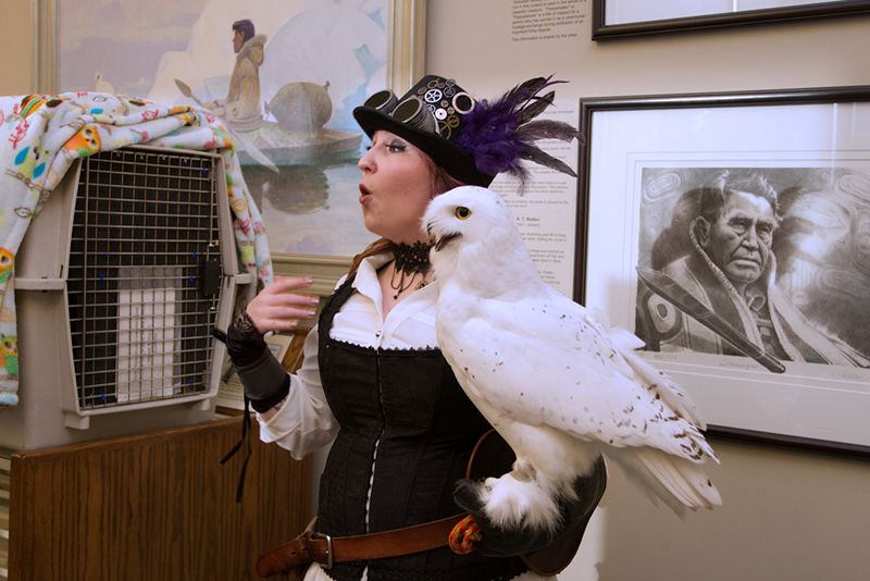 Bekah and Ghost the Snowy Owl at Owl-O-Ween