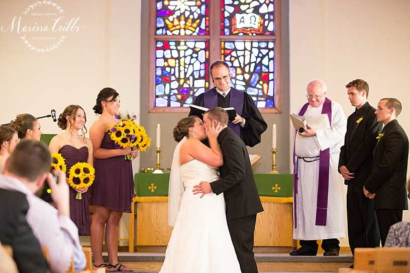 United Methodist Church | Tonganoxie, KS Wedding Ceremony | KC Wedding Photographer | Marissa Cribbs Photography | First Kiss