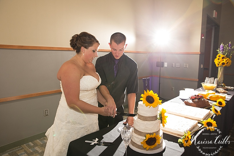 Ball Conference Center | KC Wedding Photographer | Wedding Reception | Marissa Cribbs Photography | Cake Cutting