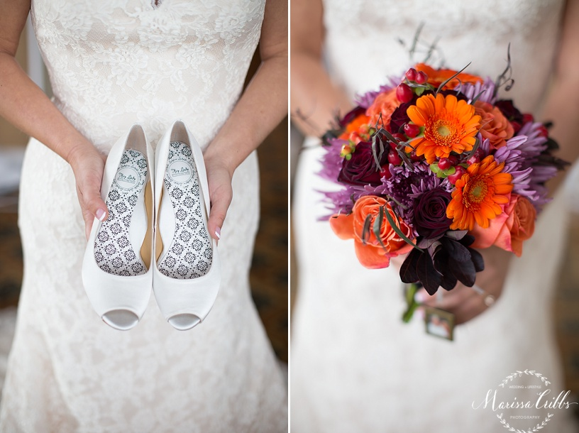 Bride getting ready | Deer Creek Golf Club | Marissa Cribbs Photography | Bridal Shoes | Bridal Bouquet | Flowers By Emily