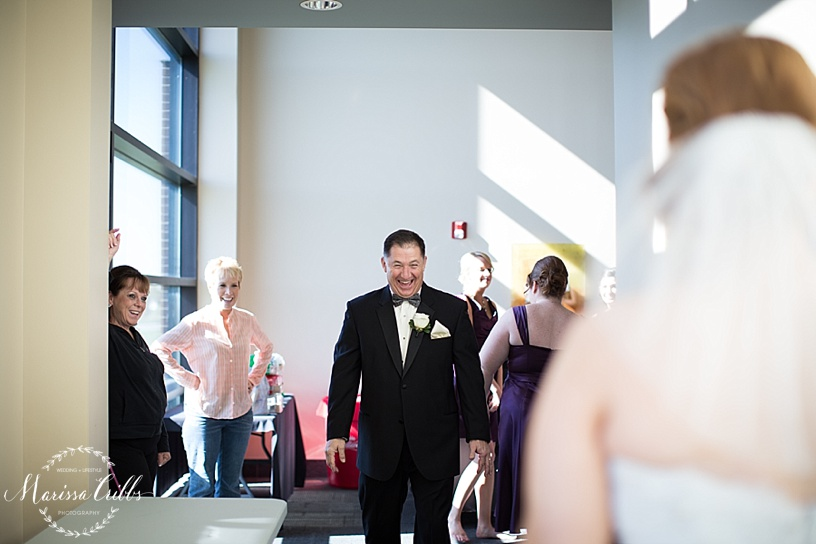 Father's First Look | Getting ready | Ball Conference Center | KC Wedding Photographer | Marissa Cribbs Photography