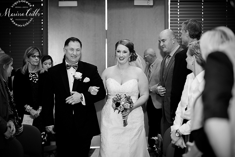 Father and Bride walking down the aisle | Ball Conference Center | KC weddings | Marissa Cribbs Photography | Wedding Ceremony and Reception Photos
