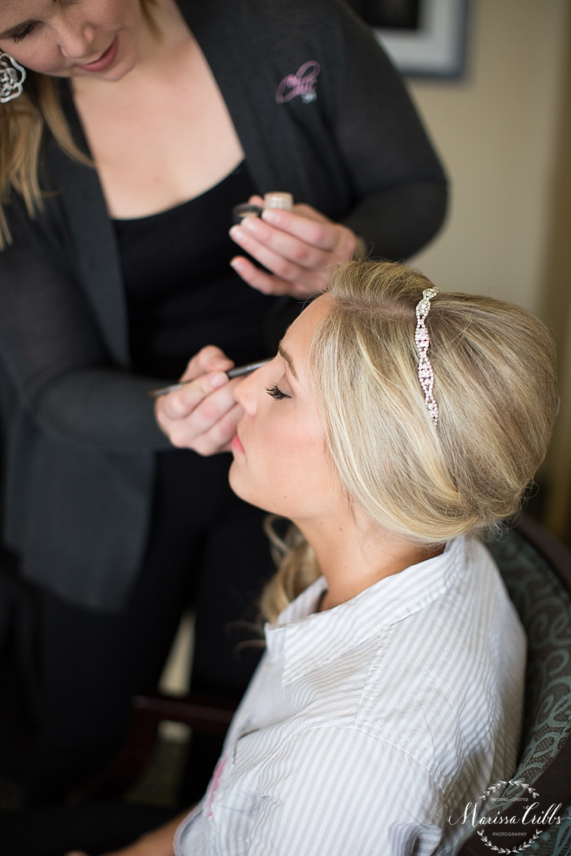 Bride getting ready photos | Marissa Cribbs Photography | Be Chic Bride | The Hilton President Hotel Kansas City